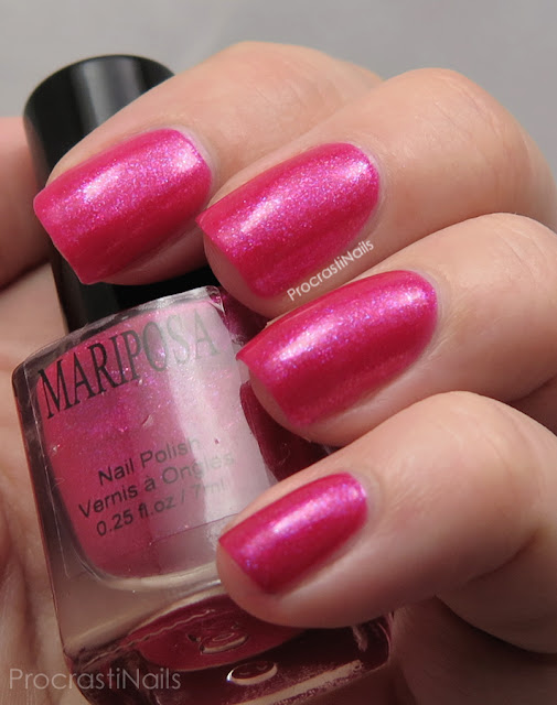 Swatch of Dollarama Mariposa Pink Flakie Nail Polish