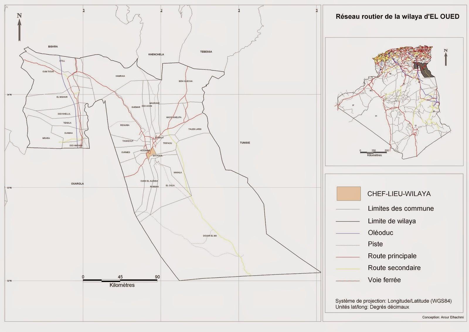 Carte Algerie El Oued.Decoupage Administratif De L Algerie Monographie Carte Du