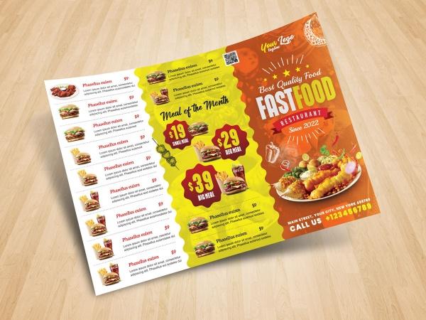 Burger menu template, Burger Leaflet Free PSD Template