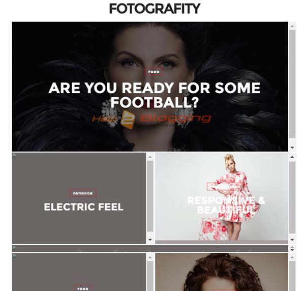 FotoGrafity Personal, Photography, Magazine, Photo gallery, Fashion etc blog design  Simple, Clean, Minimalist, Flat Slideshow  2 Columns full page  Toggle drop down menu  Social bookmarking icons  Post Thumbnails  Page Navigation Menu  White color  Right Sidebar  Seo ready Blogger Template Full Download