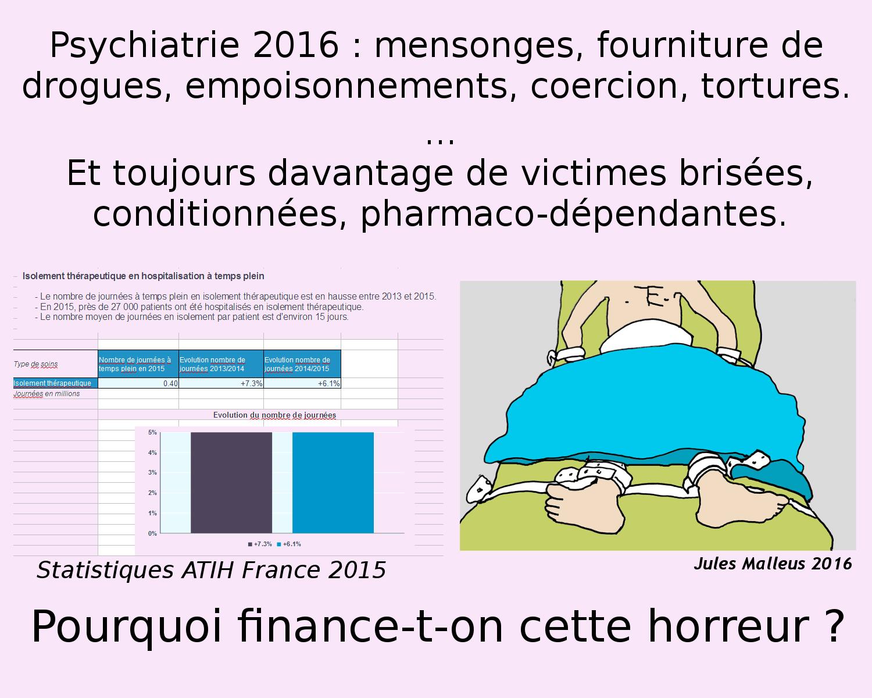 Electrochocs : pertes de mémoire définitives, déficiences cérébrales  chroniques, épilepsie, accidents d'anesthésie, mort.