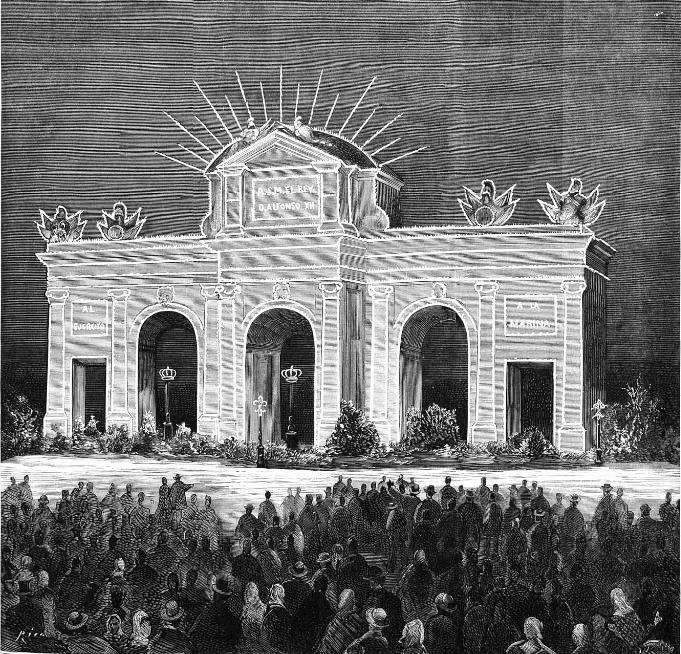 Dibujo de la Puerta de Alcalá, publicado en La Ilustración Española y Americana en marzo de 1875