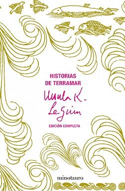 Portada de Historias de Terramar de Ursula K. Le Guin, en la que se ven dibujos de peces, olas y mareas en un fondo amarillento.