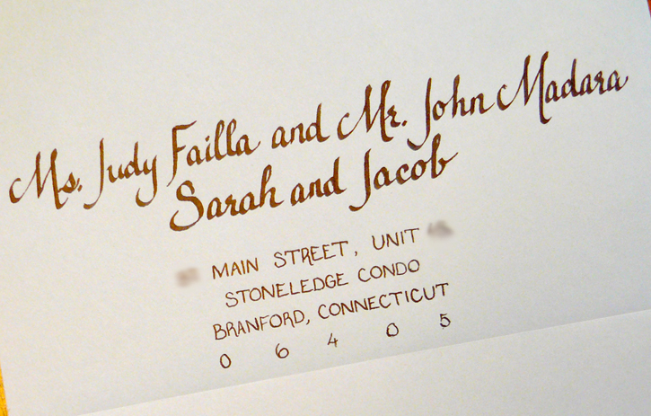For The Above Invitation An Inner Envelope Was Not Used And Children Guests Were Listed Along With Recipient Address