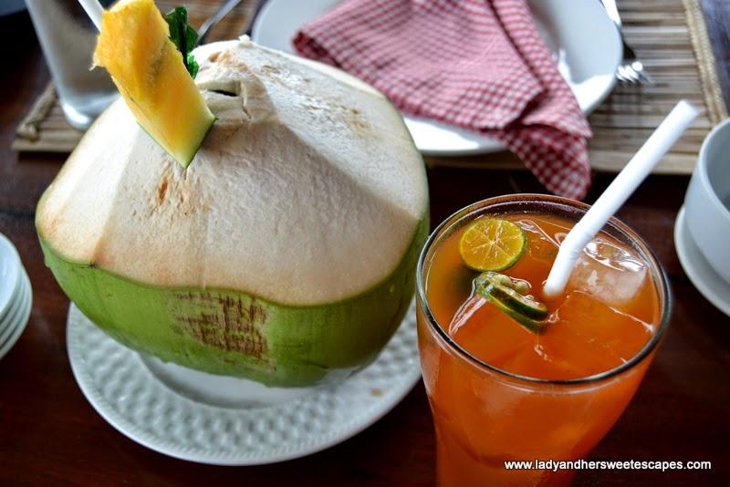 Badjao Seafront's buko juice and kalamansi iced tea