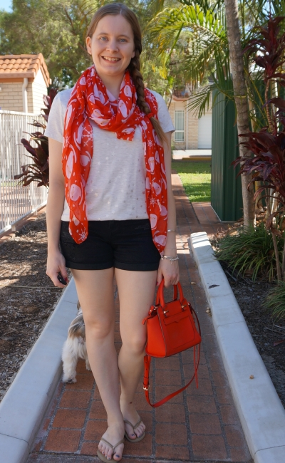 Christmas shopping outfit summer foil print sar tee and denim shorts, red Santa scarf and micro Avery bag | awayfromblue