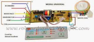 skema pasang modul universal mesin cuci