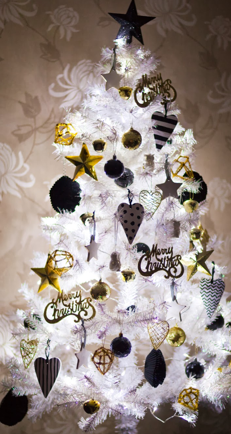 White Christmas Tree with Gold/Black/Silver Ornaments