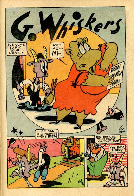 Cartoon goat and hippo VEP