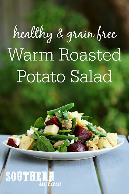 Healthy Warm Potato Salad Recipe - gluten free- grain free, low fat, vegetarian, meat free, meatless, side dish, green beans, beetroot, feta cheese, cannellini beans, balsamic vinegar