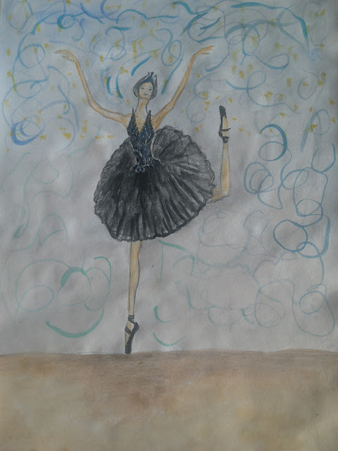 The black swan (fashion illustration of the day- watercolour painting)