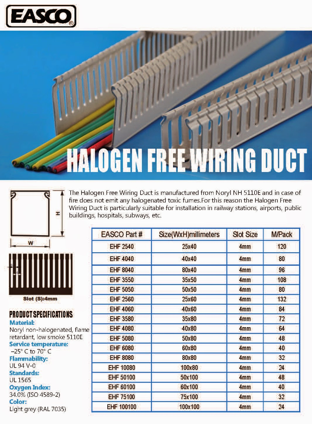 Easco Wiring Accessories Halogen Free Trunking Production The Non Is Particularly Suitable For Installation In Railway Stations Airports Public Buildings Hospitals Subways And Any