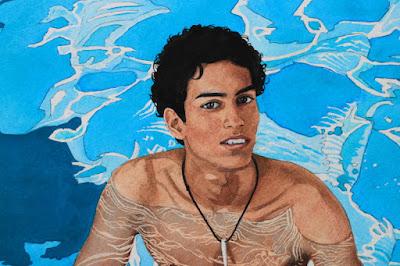 garçon nu, plonger nu, piscine, dans l'eau, balle, bleu, midi, balle