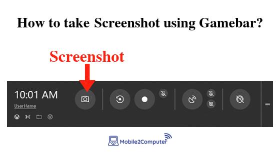 Taking screenshot on Gamebar on the Windows pc