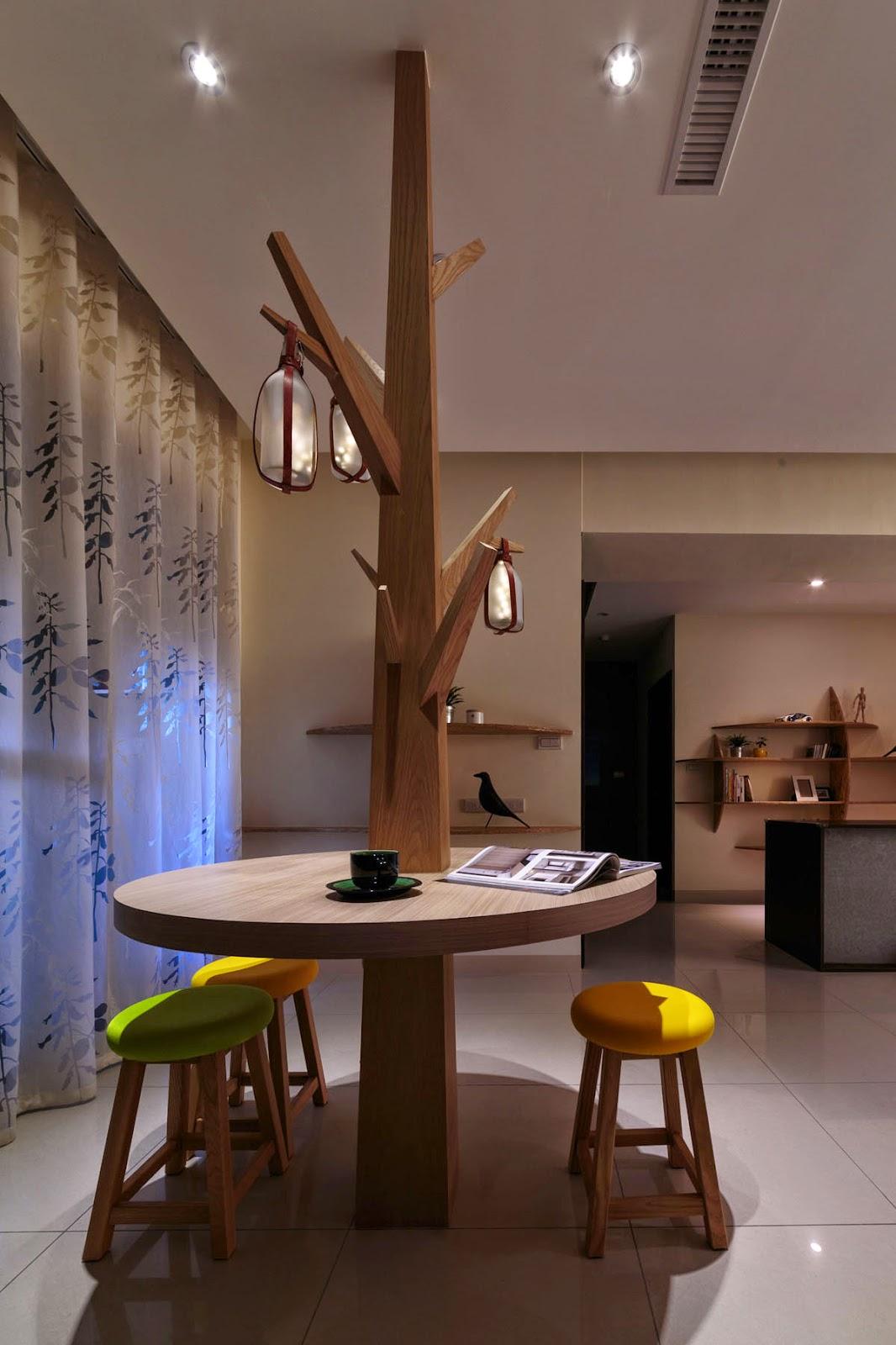 Mesa árvore com Luminaria americana