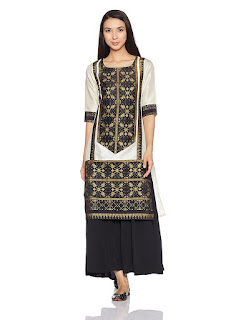 W Kurta Synthetic Straight Fit best price