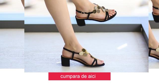 Sandale ieftine elegante cu toc mic gros negre de vara