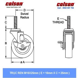 kích thước trục ren bánh xe giường bệnh y tế Colson phi 125 có khóa