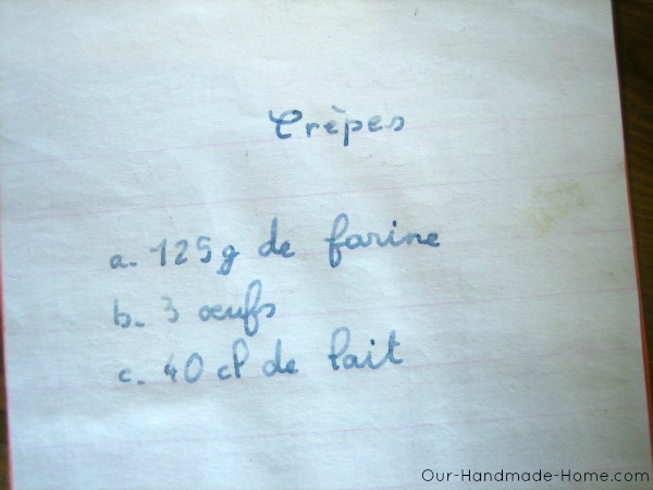 Crepe recipe in french - our handmade home