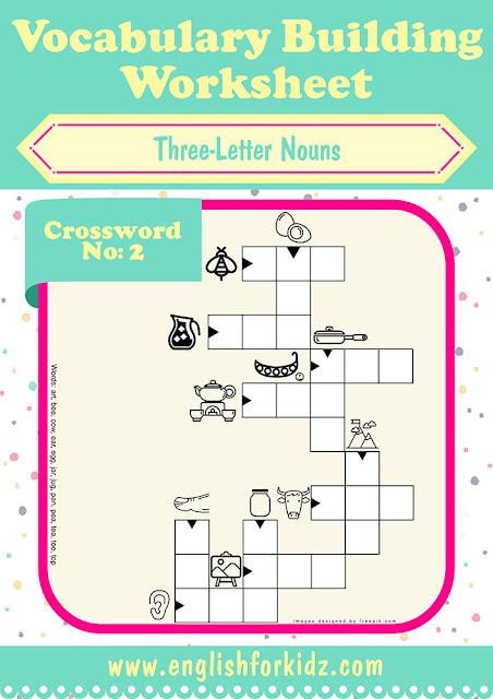 English vocabulary crossword worksheet