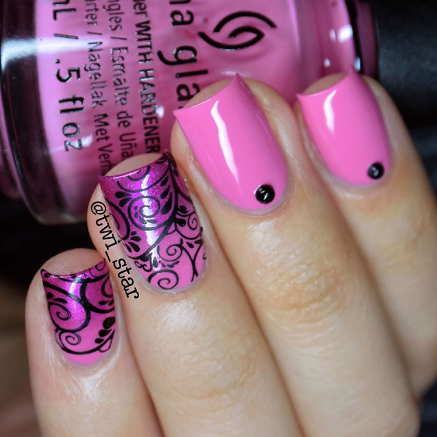 China Glaze Don't Mesa With My Heart - Pink gradient flourish stamping tutorial