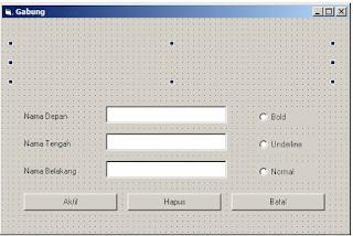 Dasar: Menggabungkan Kata Textbox Pada VB 6 - www.helloflen.com