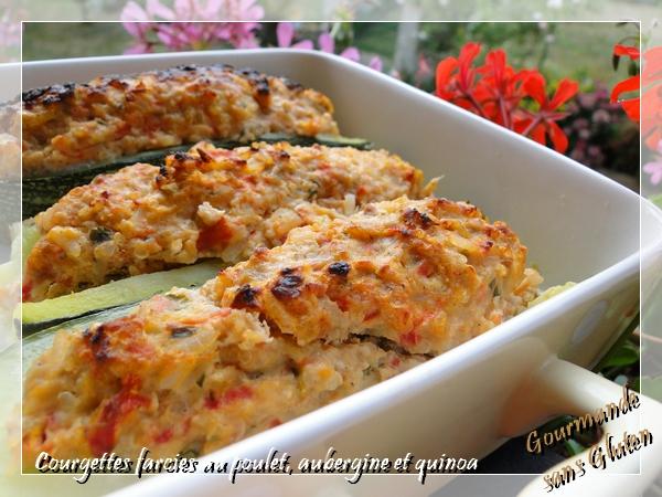 Courgettes farcies au poulet, aubergine et quinoa