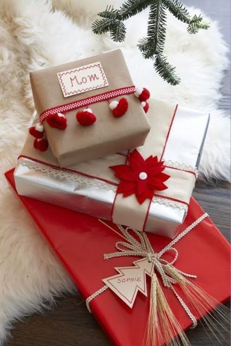 colorful red and silver with different tops Christmas gift wrapping