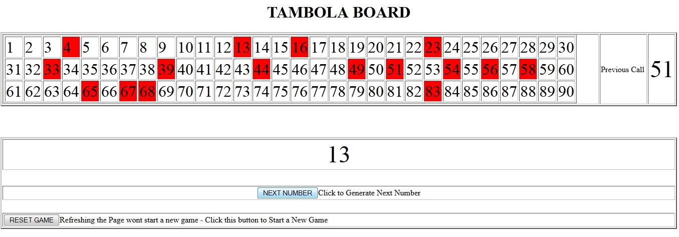 JavaScript - Tambola Board - Source Code - SessionStorage