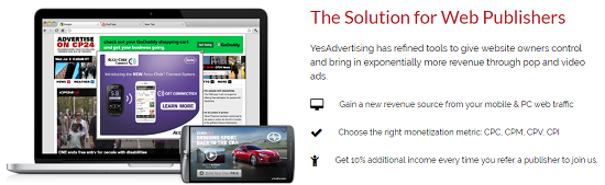 YesAdvertising review, ad networks for publisher