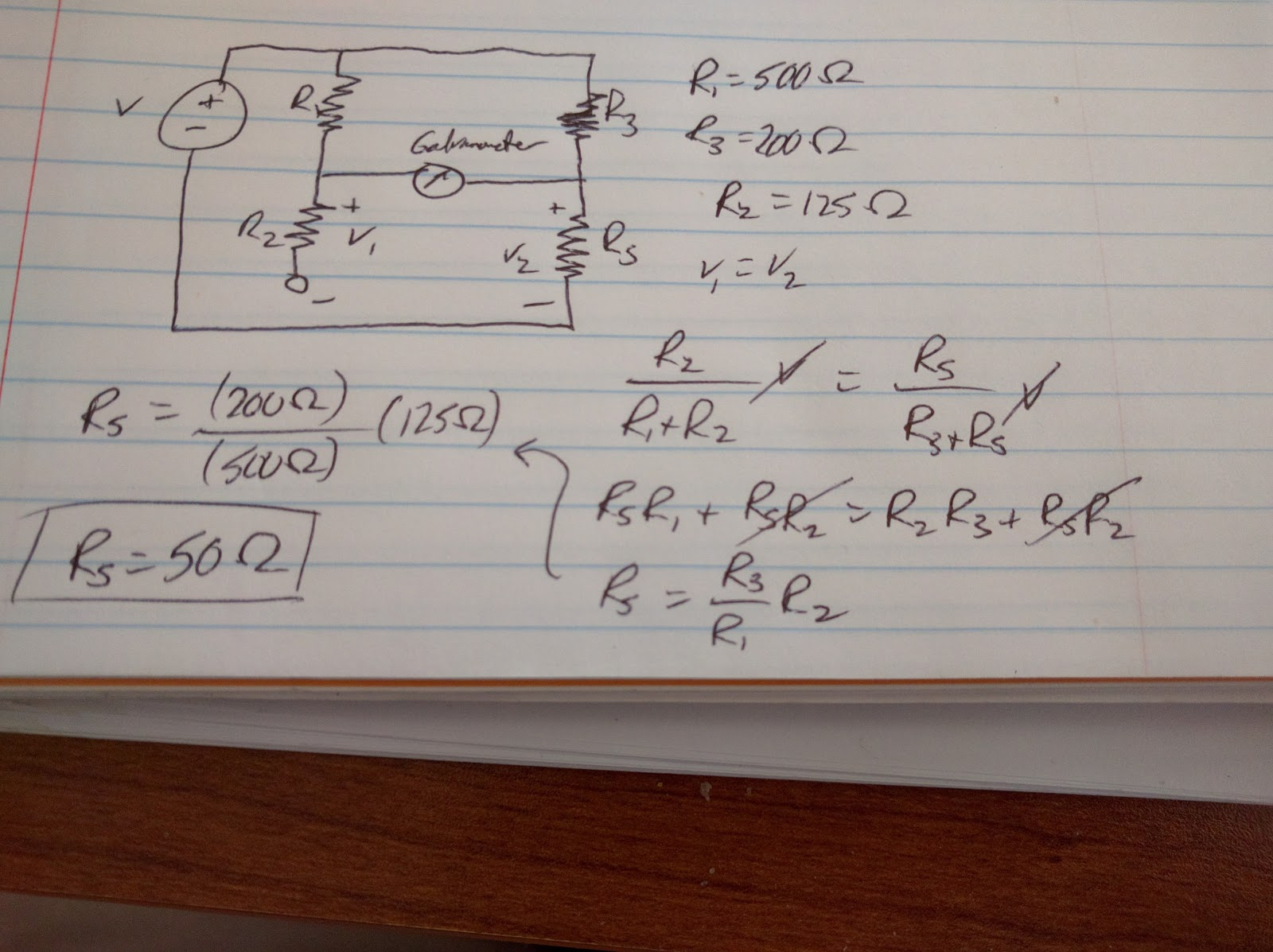 Engineering 44 Hynassman Day 9 Maximum Power Transfer Theorem And Of An Electrical Circuit Showing The Wheatstone Bridge In This Problem Resistance Needed For R S So That No Current Goes Through Galvanometer Was Found 50 Ohms