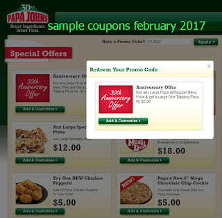 Papa Joes Pizza coupons february 2017