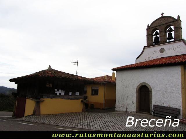 Ruta de los Molinos del Rio Profundo: Iglesia y hórreo en Breceña