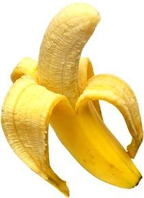 Foto de un plátano casi pelado en totalidad - Fruta