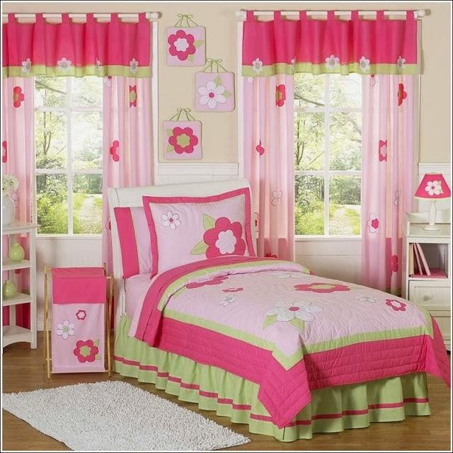 Dormitorios para ni a en rosa y verde lim n dormitorios for Cortinas para cuartos infantiles
