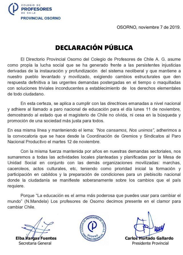 Declaración pública del Colegio de Profesores de Osorno