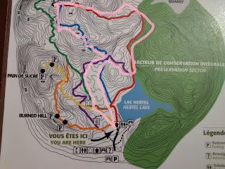 Carte des sentiers du mont Saint-Hilaire, trajet