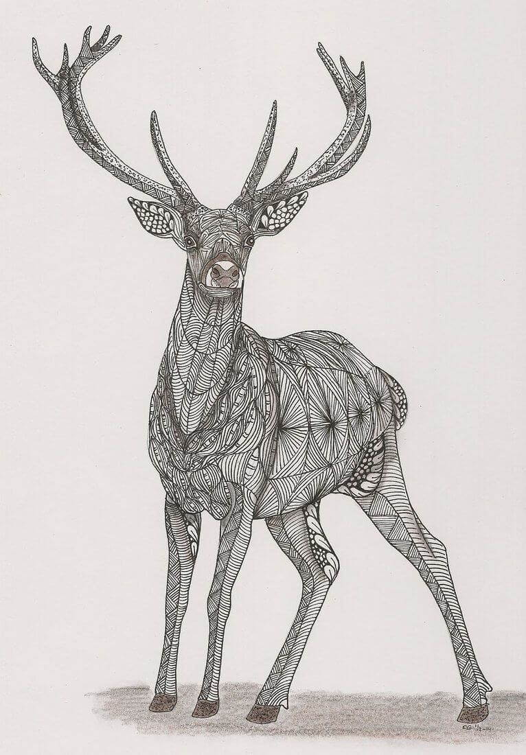 06-Deer-Adri-van-Garderen-Animals-Given-the-Zentangle-Treatment-www-designstack-co