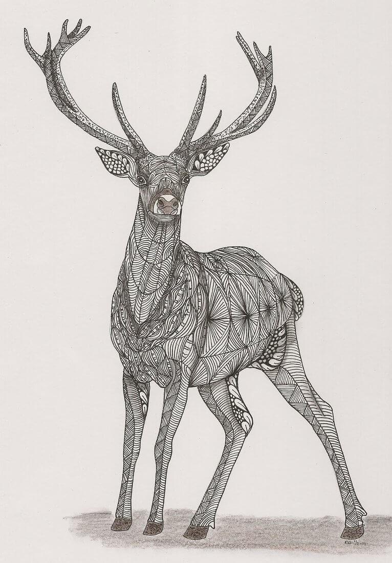 06-Deer-Adri-van-Garderen-Animals-Given-the-Zentangle-Treatment-www-designstack-co
