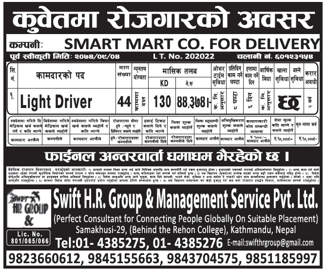Jobs in Kuwait for Nepali, Salary Rs 44,374