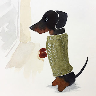 Dachshund wearing a green sweater and standing at the window illustration in watercolor - by Amy Lamp