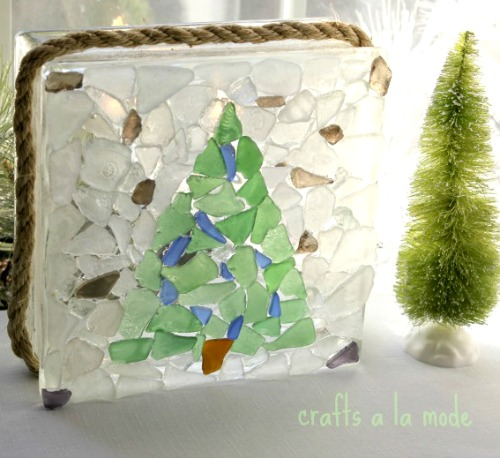 Seaglass Christmas Tree Glass Block Idea