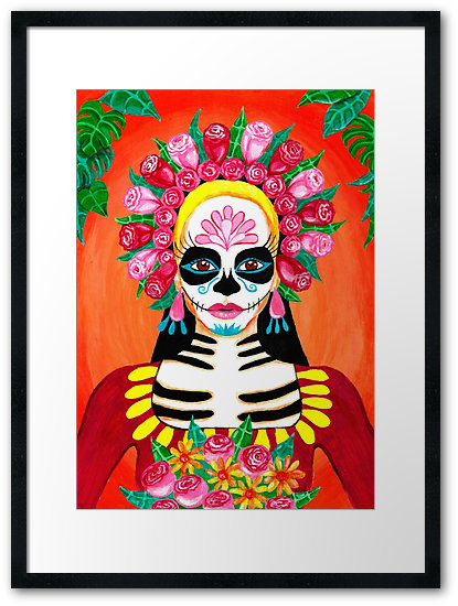 My newest acrylic painting is a portrait of La Calavera Catrina or a sugar skull girl. Catrina, a skeleton woman dressed in nice clothes, is the icon for the Mexican holiday, Day of the Dead (Día de Muertos). Read on to learn about the painting process or watch the time lapse video.