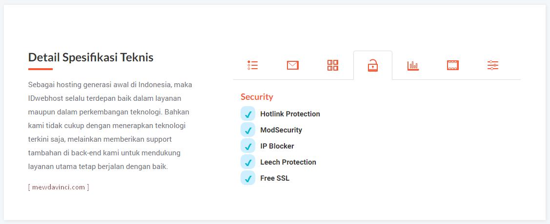 Spesifikasi keamanan hosting IDwebhost