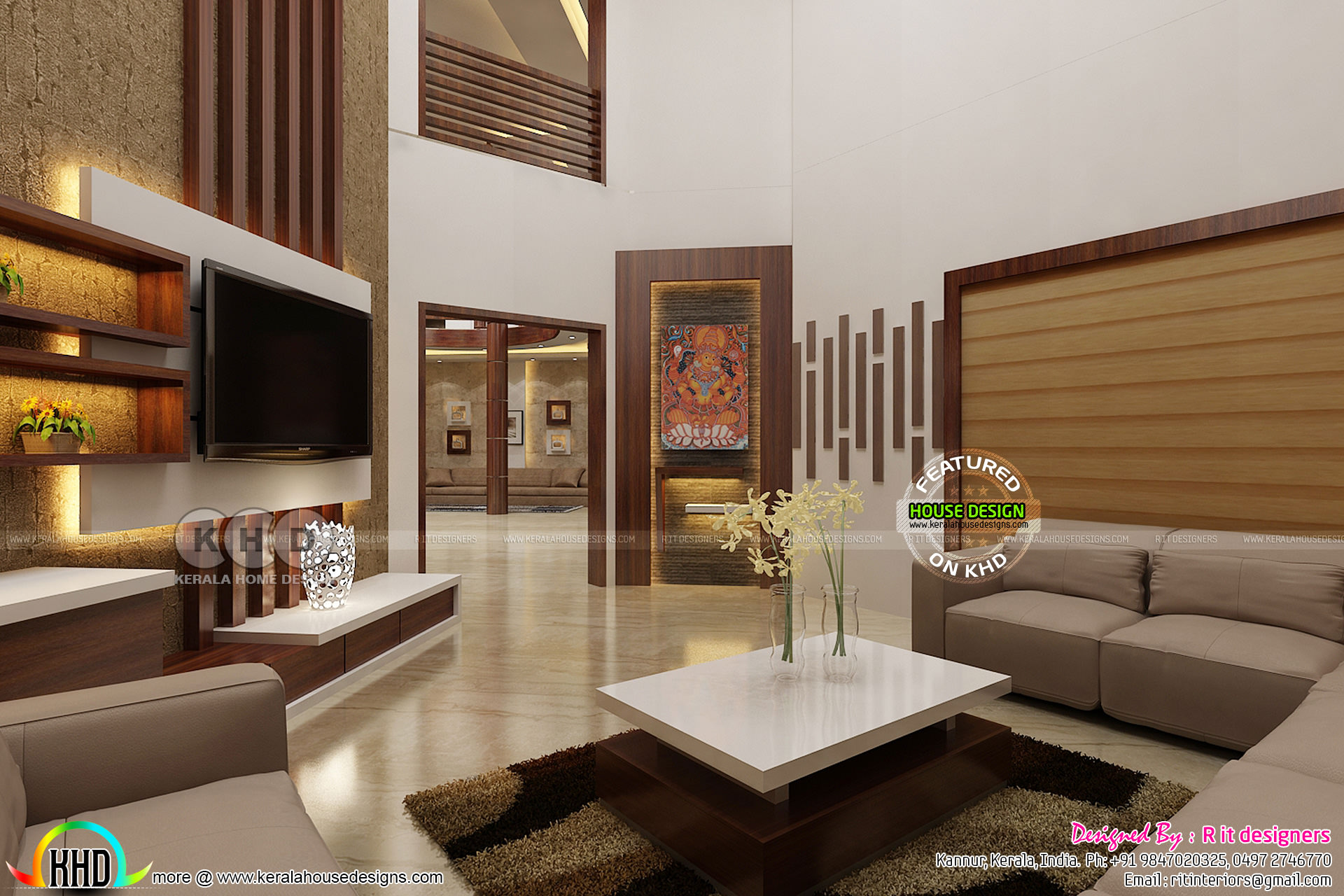 Dining area and living interior designs kerala home for Living area design