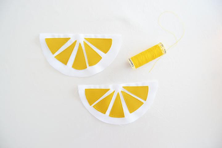 étape 2 diy porte monnaie citron
