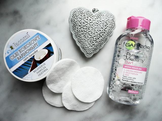 nacomi olej kokosowy garnier płyn micelarny pielęgnacja mycie twarzy oczyszczanie demakijaż