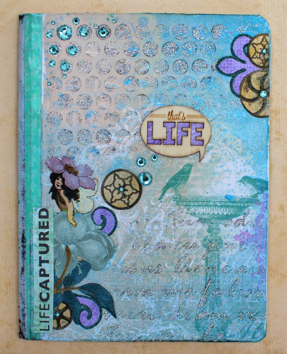 Altered Notebook Mixed Media Project by Ilene Tell using BoBunny Enchanted Garden Collection