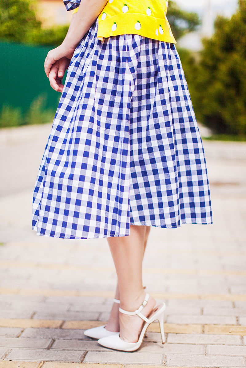 ASOS Gingham Midi Skirt with Paperbag Waist