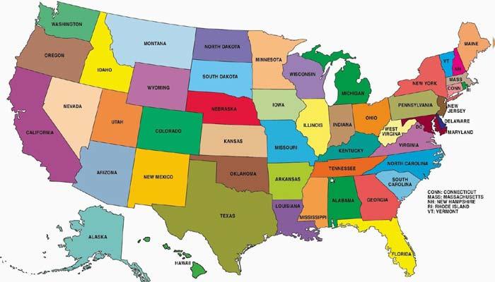अमेरिका में कितने जिले व राज्य है?